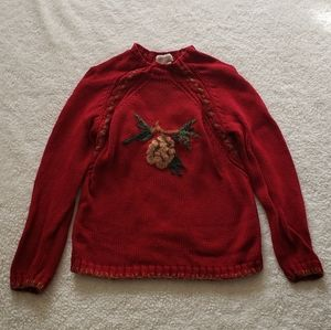 Coldwater Creek Red Pinecone Sweater